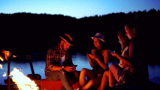 Friends on camping using mobile phones