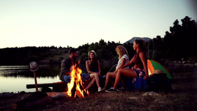 Friends on camping
