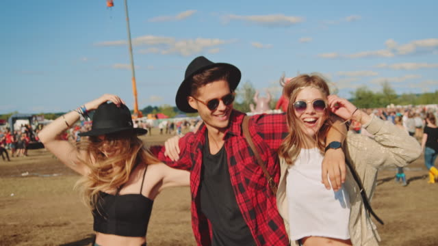 friends on festival - music festival stock videos & royalty-free footage