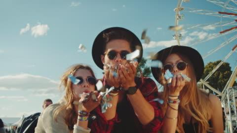 freunde auf festival - konzert stock-videos und b-roll-filmmaterial