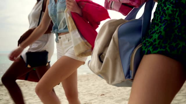 friends on summer vacation - beach bag stock videos and b-roll footage