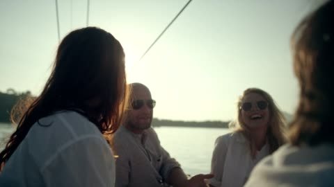 friends on yacht - leisure activity stock videos & royalty-free footage