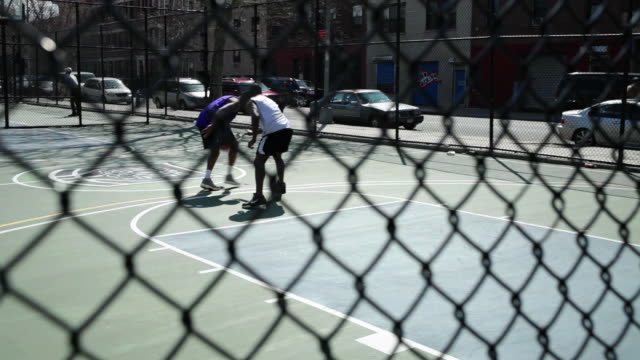 MS TD PAN TU Friends playing basketball / Brooklyn,New York,United States