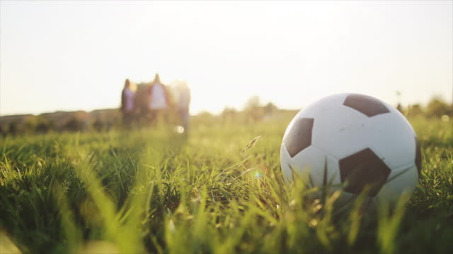 friends playing soccer on a grass field - kicking stock videos & royalty-free footage