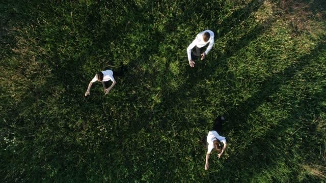 freunde tai chi üben - public park stock-videos und b-roll-filmmaterial