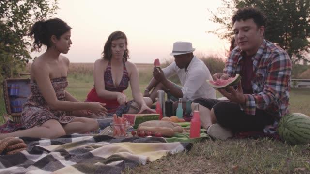 vidéos et rushes de amis détendant sur le pique-nique et appréciant la pastèque - picnic
