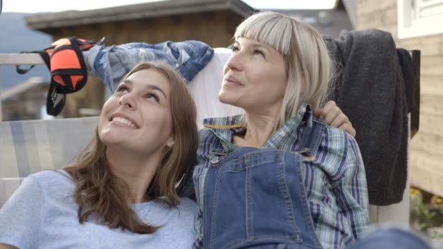vídeos y material grabado en eventos de stock de friends relaxing on veranda - camisa a cuadros