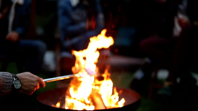 friends roasting marshmallows on fire pit - marshmallow video stock e b–roll