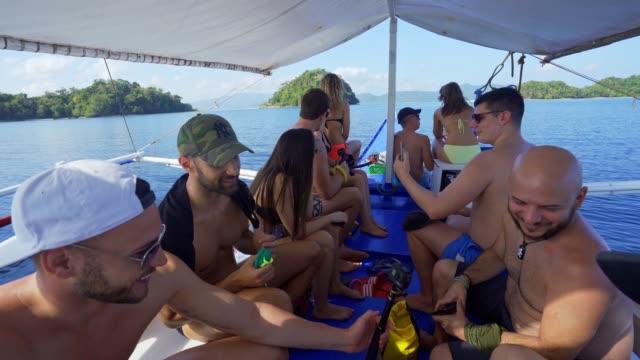 friends sailing and having fun - filippino video stock e b–roll