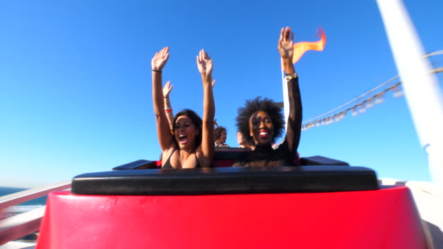 stockvideo's en b-roll-footage met ms friends screaming and laughing while riding roller coaster at amusement park - emotion
