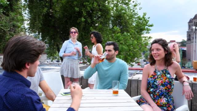 vidéos et rushes de ms pan friends sharing drinks at party on rooftop deck - toit