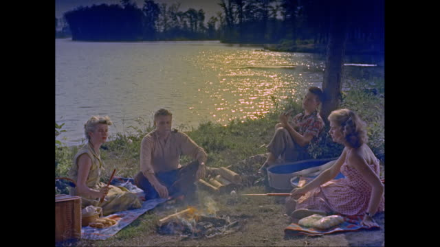 ws friends sitting  by fire near riverside, women roasting marshmallow / united states - marshmallow video stock e b–roll