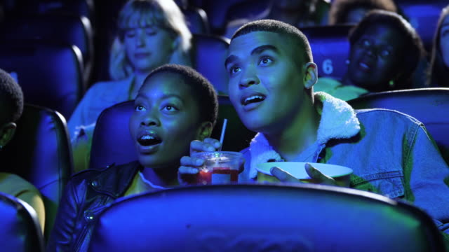 friends stare in amazement in movie theatre, close up - dating stock videos & royalty-free footage
