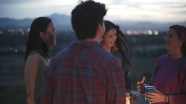sm friends talking at a party outdoors - four people stock videos & royalty-free footage