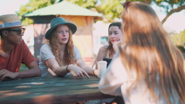 Friends talking in a park