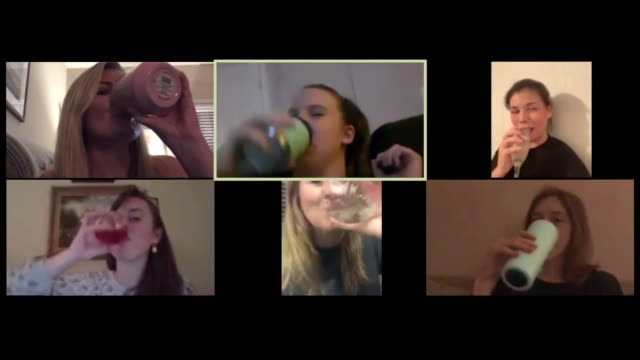 friends toast each other on a video call - party stock-videos und b-roll-filmmaterial