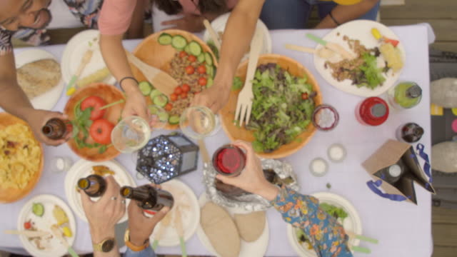 friends toast over a healthy meal - medium group of people stock videos & royalty-free footage
