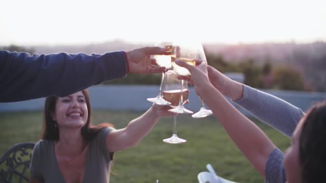 cu friends toasting wineglasses - アルコール飲料点の映像素材/bロール