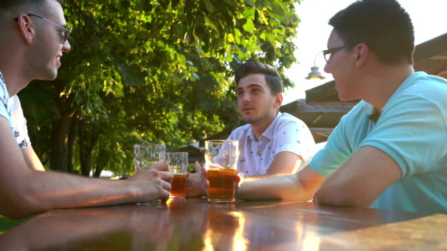 friends toasting with beer - male friendship stock videos & royalty-free footage