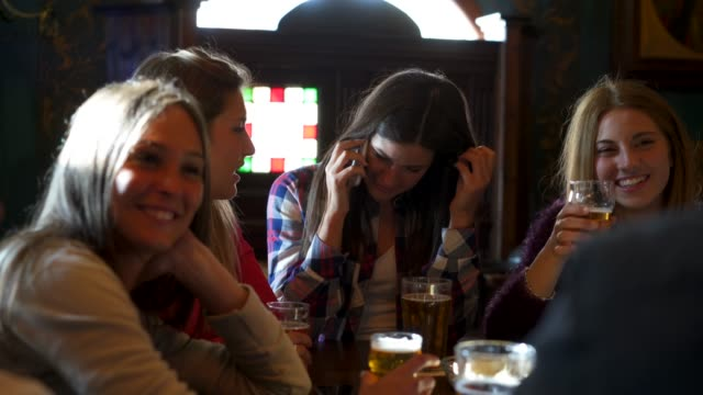 Friends together at the pub
