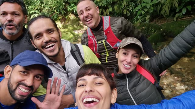 friends together taking a selfie during hiking - camera point of view - candid stock videos & royalty-free footage