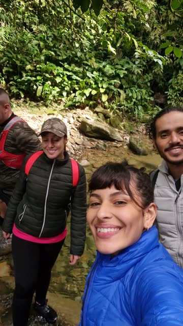 friends together taking a selfie during hiking - camera point of view - rucksack stock videos & royalty-free footage