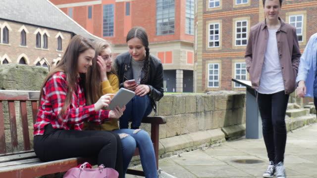 Friends Using Digital Tablet On Park Bench