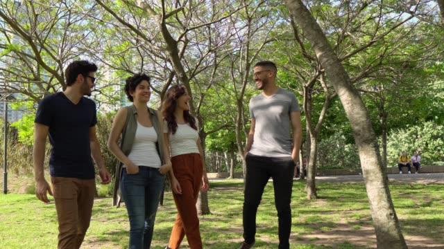 friends walking at public park - public park stock videos & royalty-free footage