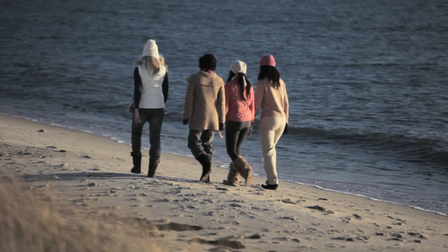 friends walking by the sea - female friendship stock videos & royalty-free footage