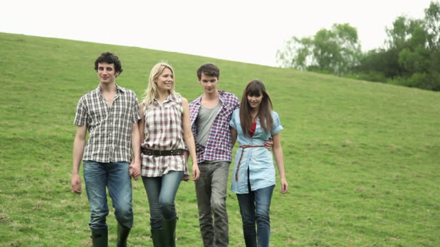 friends walking down a hill with dog, stopping and looking away - guildford stock videos & royalty-free footage
