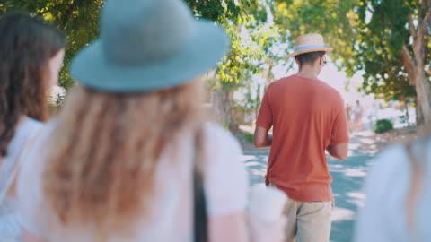friends walking down the street - public park stock videos & royalty-free footage