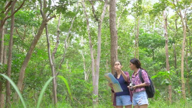 Vrienden wandelen in het bos. Aziatische vrouw reizen buiten levensstijl in bos