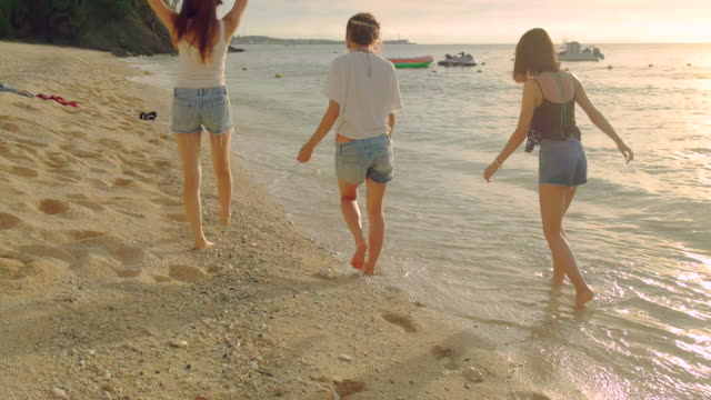 friends walking on the beach. - jp201806 stock videos and b-roll footage