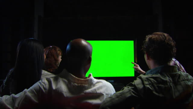Friends Watch Chromakey TV - Jib Up WS Celebration