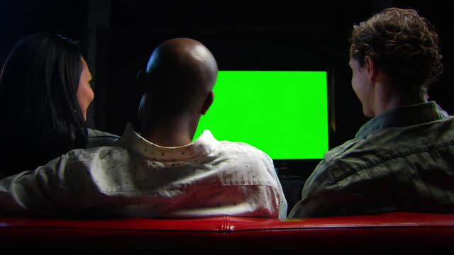 friends watch chromakey tv - locked ws celebration rl - shoulder stock videos and b-roll footage