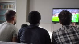 Friends Watching Soccer on TV at Home