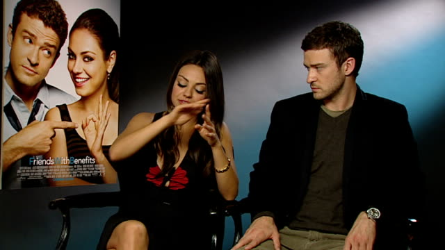 'friends with benefits' justin timberlake and mila kunis interview england london int justin timberlake and mila kunis interview sot mila kunis on... - justin timberlake stock videos & royalty-free footage