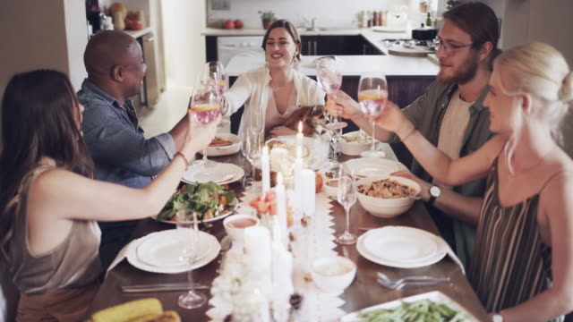 friendship gives you many reasons to celebrate - dinner party stock videos & royalty-free footage