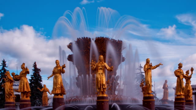 "tl ""friendship of the peoples"" fountain, close up / russia, moscow - female likeness stock videos & royalty-free footage"