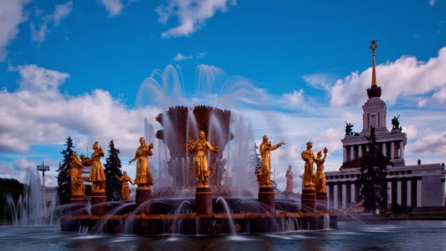 """tl """"friendship of the peoples"""" fountain, general view / russia, moscow - female likeness stock videos & royalty-free footage"""