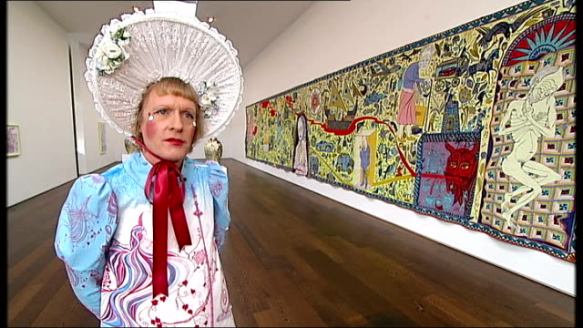 grayson perry grayson perry interview continued sot / grayson perry standing in front of the walthmstow tapestry - tapestry stock videos & royalty-free footage