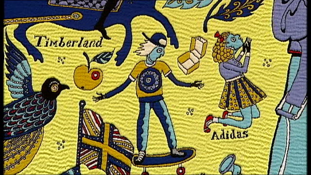 grayson perry various shots of grayson perry tapestry 'the walthamstow tapestry' - tapestry stock videos & royalty-free footage