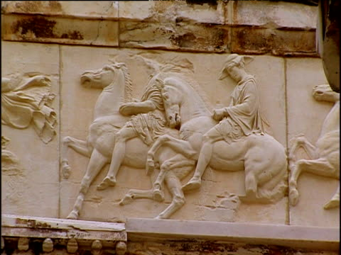 friezes of classical scenes on parthenon athens - parthenon athens stock videos and b-roll footage