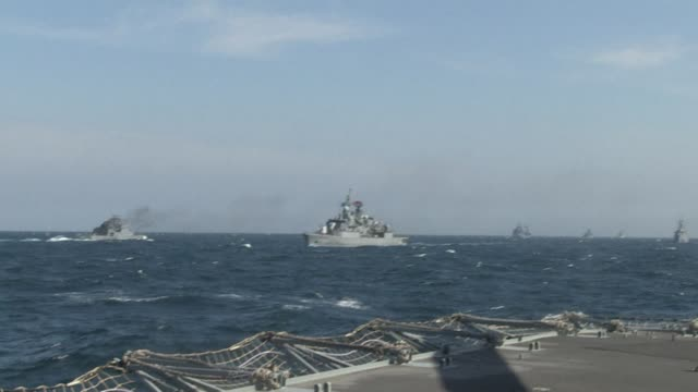 frigates from canada, turkey, italy and romania take part in nato exercises in the black sea, with romanian authorities confirming a russian plane... - warship stock videos & royalty-free footage