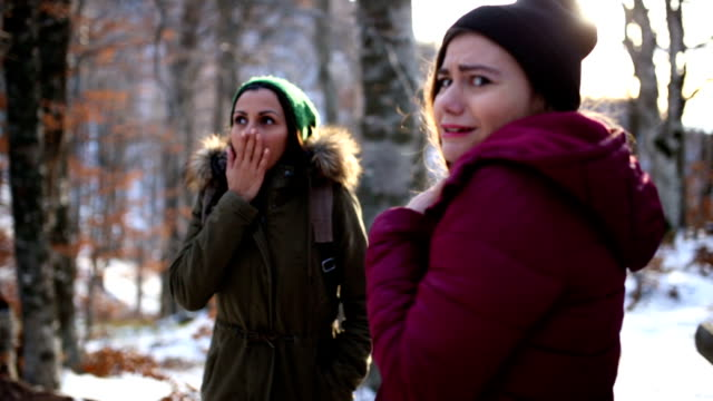 Frightened Girls In Woods
