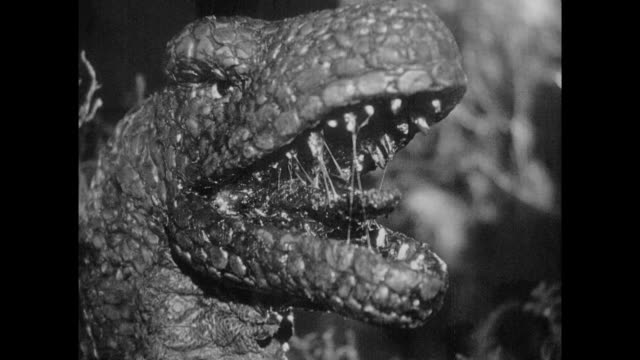 stockvideo's en b-roll-footage met 1925 frightened jungle explorers fight off angry stop motion dinosaur with rifles and fire - bedreiging