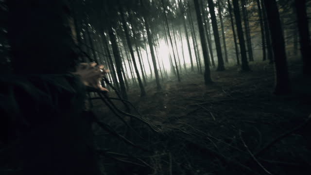 POV Frightened man panicky running in the forest