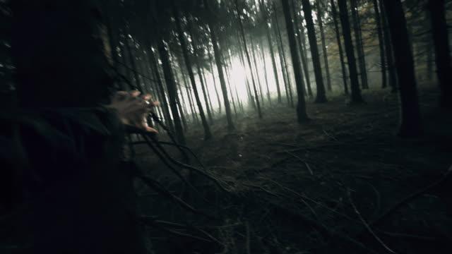 POV Angst Mann panikartigen Laufen im Wald