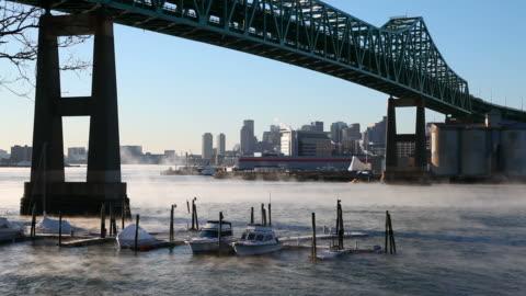 frigid morning mist on the mystic river in boston - boston massachusetts stock videos & royalty-free footage