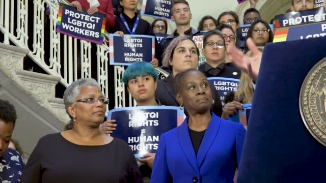 frist lady chirlane mccray. nyc rally to protect lgbtq workers. in light of the united states supreme court october 8th 2019 hearing a rally was held... - human back stock videos & royalty-free footage